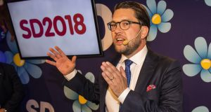 Leader of the far-right Sweden Democrats Jimmy Akesson speaks to members and supporters at the party following the party's gains. Photograph: Getty Images