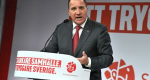 Prime minister and party leader of the Social Democrat party Stefan Lofven speaks at the election party at the Fargfabriken art hall in Stockholm on Sunday. Photograph: Claudio Bresciani/ EPA/