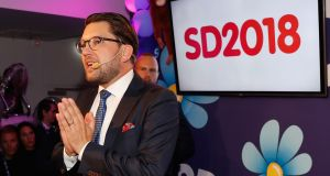 Leader of the far-right Sweden Democrats Jimmy Akesson speaks to members and supporters at the party following the party's gains. Photograph: Michael Campanella/Getty Images