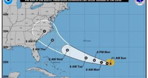 Forecast cone for the storm center of hurricane Florence. Photograph: NOAA/Reutes