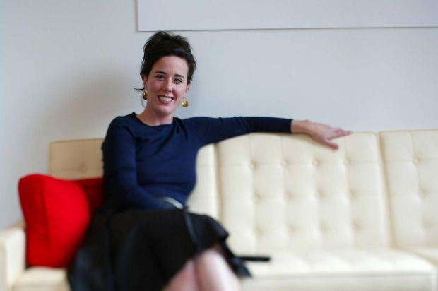 Kate Spade: the late designer at her offices in 2002. Photograph: David Howells/Corbis via Getty