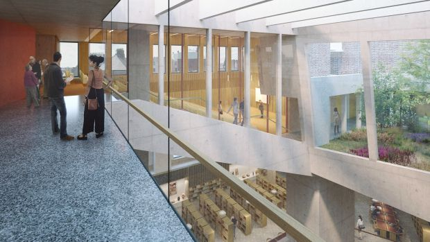 Interior of the new Dublin City Library, Parnell Square, designed by Grafton Architects