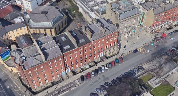 Parnell Square showing the new Dublin City Library site from the air. The buildings to the left and right of the Hugh Lane Gallery, plus a new build to the rear, will house the library. Photograph: Google Street View