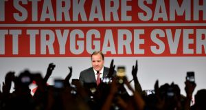"Prime minister and leader of Social Democrat party Stefan Löfven: ""The Sweden Democrats don't have anything to offer . . . [only] growing divisions and hatred."" Photograph: Jonas Ekstršmer/TT"