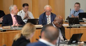 Cllr Jimmy Guerin, speaking at the special meeting of Fingal County Council to consider presidential nomination requests. Photograph: Dara Mac Dónaill/The Irish Times