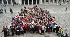 Delegates and guests to the first stand-alone International Congress of Parliamentary Women's Caucuses, in the Upper Yard, Dublin Castle. Photograph: Maxwell's