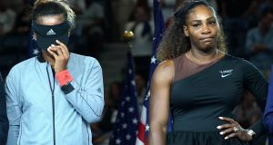 """When the finest player the game has seen behaves like a diva, it is not wrong to remind her that champions have responsibilities."" Above: US Open women's singles champion Naomi Osaka   and Serena Williams. Photograph: Getty Images"