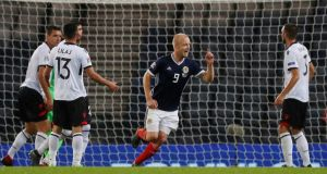 Scotland's Steven Naismith celebrates scoring their second goal during the Nations League win over Albania. Photo: Russell Cheyne/Reuters