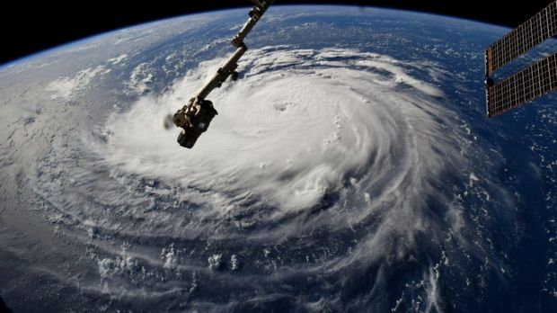Hurricane Florence is seen from the International Space Station as it churns in the Atlantic Ocean towards the east coast of the United States on Monday. Photograph: Nasa/Retuers