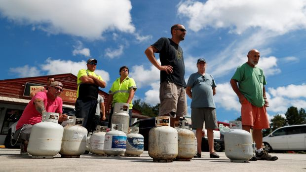 Customers line up to buy propane at Socastee Hardware store, ahead of the arrival of Hurricane Florence in Myrtle Beach, South Carolina. Photograph: Randall Hill/Reutes