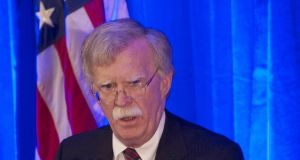 National security adviser John Bolton denounced the legitimacy of The Hague-based court at a speech to the Federalist Society on Monday. Photograph: Andrew Caballero-Reynolds/AFP/Getty Images