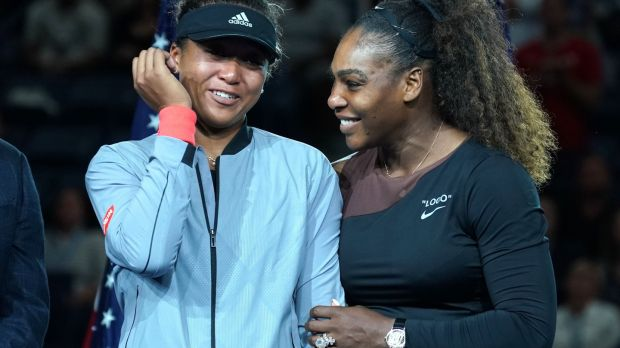 US Open champion Naomi Osaka of Japan (L) with Serena Williams during their women's singles final at the USTA Billie Jean King National Tennis Centre in New York. Photograph: Timothy A Clary/AFP/Getty Images