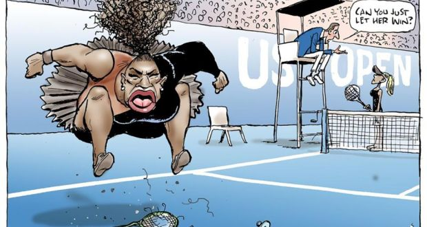 Australian cartoonist Mark Knight has been criticised for his portrayal of tennis superstar Serena Williams. Image: Mark Knight/Herald Sun/AFP