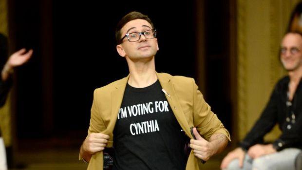 "New York Fashion Week: Christian Siriano in a personal variation on his ""Vote for Cynthia"" T-shirts. Photograph: Fernanda Calfat/Getty"