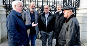 Pictured  in 2014 at  'Hooded Men' Amnest Press conference in Dublin from left Francis Mc Guigan, Micheal Donnelly, Patrick Mc Nally Brian Turley and Kevin Hannaway. Photograph: Cyril Byrne