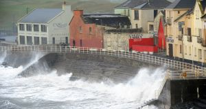 Storm Ophelia battering Lahinch in Co Clare last October. The storm brought some of the wildest conditions to hit this country in about 50 years.  Photograph: Aidan Crawley/EPA