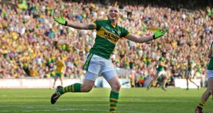 Kerry's Kieran Donaghy celebrates a goal in the 2014 All-Ireland final victory over Donegal at Croke Park.  Photograph: Morgan Treacy/Inpho