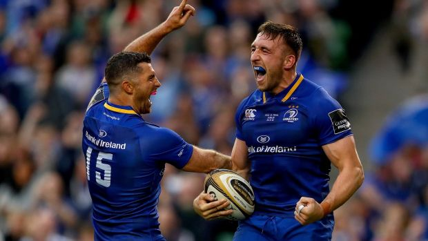 Jack Conan celebrates with Rob Kearney during Leinster's Pro14 final win over the Scarlets. Photograph: James Crombie/Inpho
