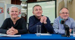 Bríd Smith, Richard Boyd-Barrett and Mick Barry of the Solidarity-People Before Profit alliance at Wynn's Hotel in Dublin. Photograph: Gareth Chaney/Collins