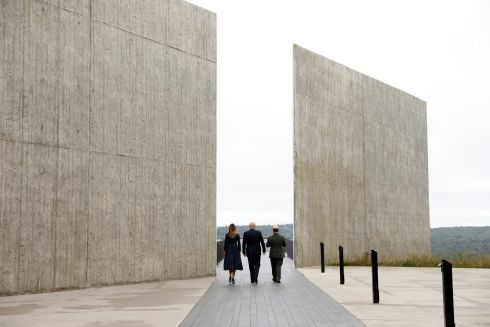 TWIN TOWERS: US president Donald Trump and US first lady Melania Trump walk with park superintendent Stephen Clark as they tour the Flight 93 National Memorial during the 17th annual September 11th observance, near Shanksville, Pennsylvania, US. Photograph: Kevin Lamarque/Reuters