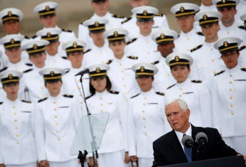 17 YEARS ON: US vice-president Mike Pence speaks during the 17th annual September 11th observance ceremony at the Pentagon in Washington. Photograph: Joshua Roberts/Reuters