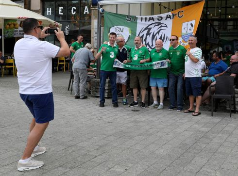 Republic of Ireland fans in Wroclaw, Poland ahead of an international friendly against Poland at the Stadion Miejski. Photograph: Steven Paston/PA Wire.