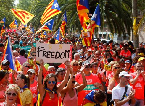NATIONAL SENTIMENT: People take part in a rally on Catalonia's national day, La Diada, in Barcelona, Spain. Photograph: Enrique Calvo/Reuters
