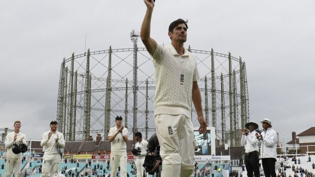 England's Alastair Cook leaves the field after his side had wrapped up victory over India at the Oval. Photograph: Adrian Dennis/AFP/Getty