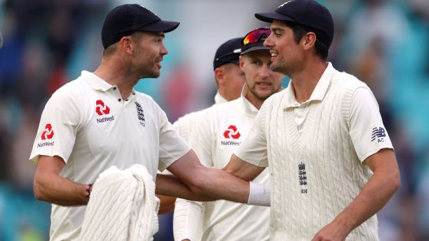 Jimmy Anderson and Alastair Cook after England's final Test victory over India at the Oval. Photograph: Paul Childs/Reuters