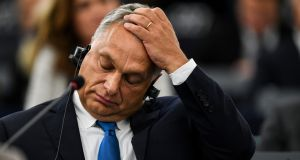 Hungarian leader Viktor Orban   at the European Parliament in Strasbourg. The government in Budapest is accused of  multiple breaches of the rule of law, corruption,  discrimination against minorities, and its refusal to take in migrants. Photograph: EPA/Patrick Seeger