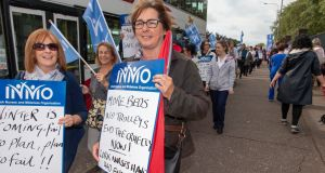 INMO nurses and midwives protest at Cork University Hospital. Photograph: Michael Mac Sweeney/Provision