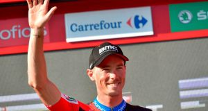 Rohan Dennis of BMC Racing Team  celebrates after winning the 16th stage of the La Vuelta   after  a 32 km individual time-trial from Santillana del Mar to Torrelavega. Photograph: Getty Images