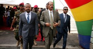 File image of Eritrea's president Isaias Afwerki and Ethiopia's prime minister Abiy Ahmed in July 2018. File photograph: Tiksa Negeri/Reuters