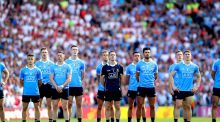 Dublin line up against Tyrone. Lack of competition has long been a reality in the GAA. Three counties have won 75 per cent of the hurling All-Irelands whereas two share an entire half of the football titles. Photograph: Ryan Byrne/Inpho