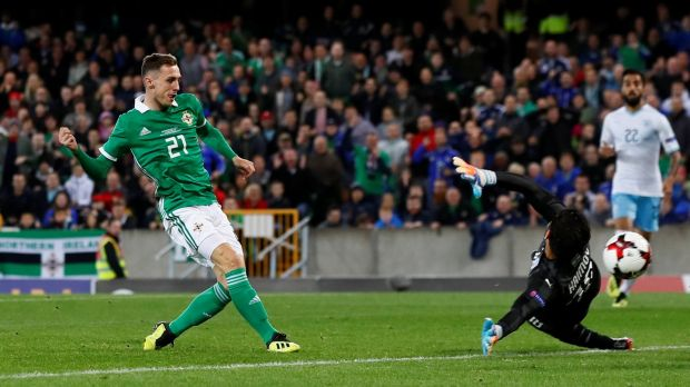 Northern Ireland's Gavin Whyte scores their third goal during the international friendly against Israel at Windsor Park. Photograph: Jason Cairnduff/Action Images via Reuters