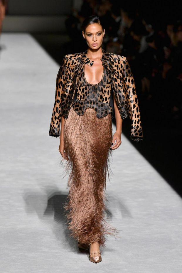NYFW: Joan Smalls models Tom Ford. Photograph: Slaven Vlasic/Getty