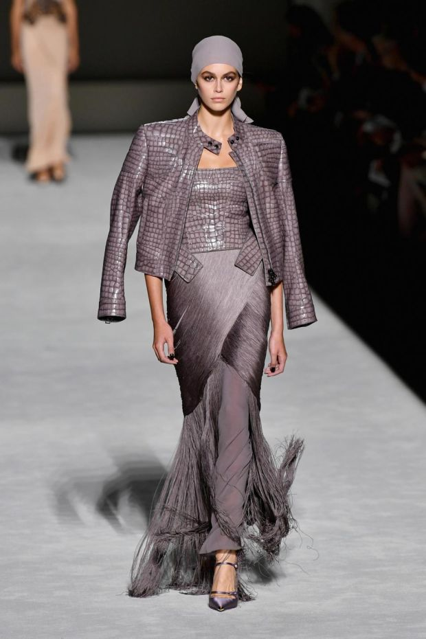 NYFW: Kaia Gerber models Tom Ford. Photograph: Slaven Vlasic/Getty