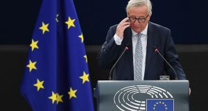 European Commission president Jean-Claude Juncker delivering his state of the union speech at the European Parliament on Wednesday. Photograph: Frederick Florin/AFP/Getty Images