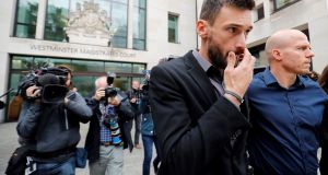 Tottenham Hotspur's French goalkeeper Hugo Lloris leaves Westminster Magistrates Court in central London. Photograph: Getty Images
