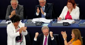 The EU Parliament rapporteur on copyright,  Axel Voss,  celebrates after a vote on modifications to EU copyright reforms during a voting session at the European Parliament in Strasbourg. Photograph: Vincent Kessler/Reuters
