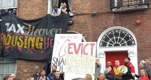 Protesters at 41 Belvedere Place in Dublin. Photograph: Take Back the City