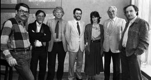 Robert Ballagh, RTÉSO conductor Bryden Thompson,  poet Seamus Heaney, Irish Film Board chief executive Michael Algar,  poet Eavan Boland, playwright Hugh Leonard and Arts Council director Adrian Munnelly in 1985. Photograph: Eddie Kelly/The Irish Times