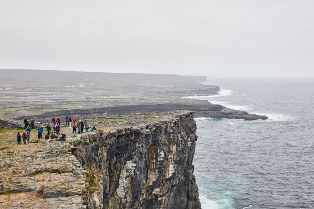 Aran Islands: tourists at Dún Aonghasa, on Inishmore. Photograph: Andy Haslam/New York Times