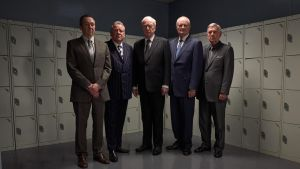 Men in grey: Paul Whitehouse, Ray Winstone, Michael Caine, Michael Gambon and Tom Courtenay in 'King of Thieves'