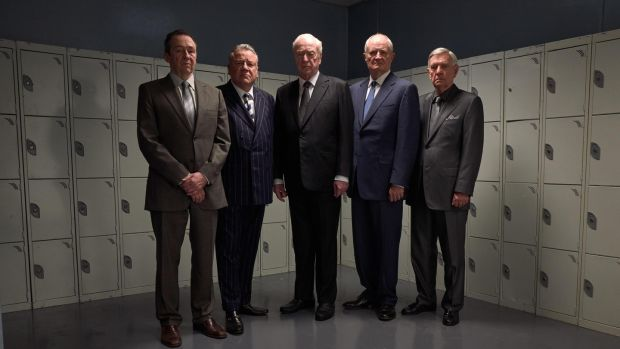 Men in grey: Paul Whitehouse, Ray Winstone, Michael Caine, Michael Gambon and