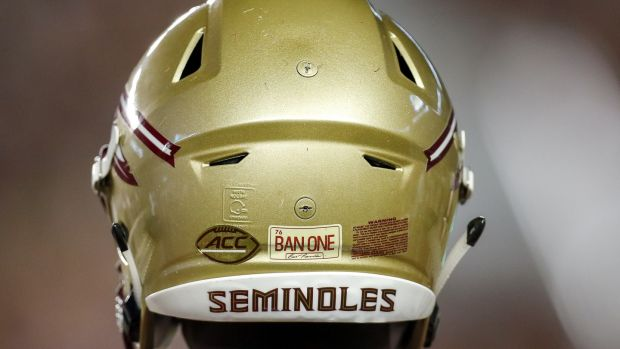 A Florida State Seminoles Helmet with the decal 'BAN ONE' honoring alumnus actor Burt Reynolds. Photo: Don Juan Moore/Getty Images