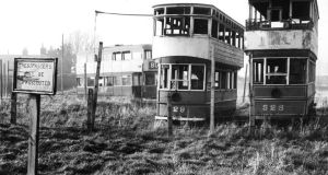 Three old Dublin trams on a site near Sutton railway station in 1955. Photograph: Eddie Kelly