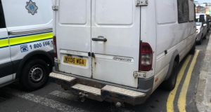 The van appears to have previously belonged to the Greater Manchester Police force. Photograph: Jack Power