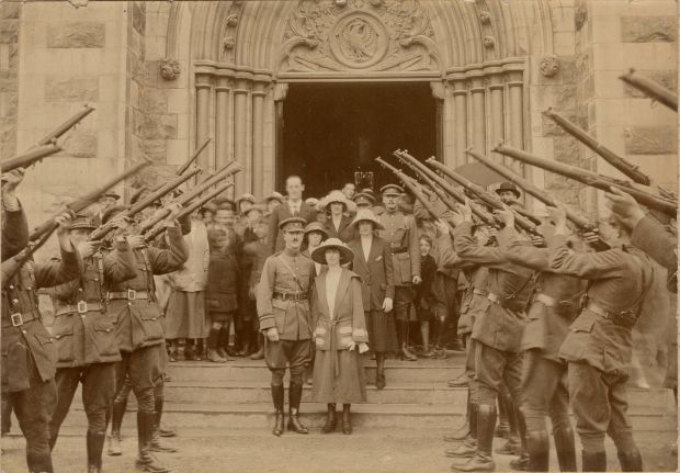 Wedding of Colonel-Commandant J.T. Prout (commander Free State forces, southeast division) to Limerick native Mary Conba at St John the Evangelist Church (O'Loughlin Memorial Church), Kilkenny City, July 12th, 1922. A guard of honour with rifles was provided by Prout's troops from nearby Kilkenny Military Barracks. Courtesy of Michael Cannady Private Collection