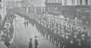 Following the split in the Irish Volunteers in September 1914, over 95 per cent of the members switched allegiance to the National Volunteers. Members of the Kilkenny National Volunteers parade down High Street in October 1914 on the occasion of John Redmond's inauguration as Freeman of the City. Ccourtesy of James Stephens Barracks Museum
